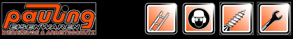 Seit 1900 - Befestigungstechnik - Berufsbekleidung - Elektrowerkzeuge - Leitern - Werkzeuge - 117 Jahre Pauling Eisenwaren Logo